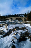 LOOKING OVER TO THE OLD BRIG O'DEE (AKA THE INVERCAULD BRIDGE) ACROSS THE RIVER DEE, AFTER A FALL OF SNOW, ABERDEENSHIRE. PIC: P.TOMKINS/VisitScotland/SCOTTISH VIEWPOINT Tel: +44 (0) 131 622 7174   Fa... TREE,WATER,FORESTRY,WINTER,ICE,FROZEN
