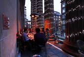 The outside terrace of the Citation Taverne and Restaurant, Merchant City, Glasgow. PIC: P.Tomkins / VisitScotland / Scottish Viewpoint Tel: +44 (0) 131 622 7174   Fax: +44 (0) 131 622 7175 E-Mail : i... Public 2010,drinks,drinking,building,architecture,eating,group,people,evening,dusk,atmospheric