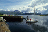 The southern end of the Caledonian Canal at Corpach.  Loch Linnhe, Fort William and Ben Nevis (Britian's highest mountain at 4408' / 1028m) visible behind. Highlands of Scotland.PIC:PAUL TOMKINS/Visit... SUMMER,WATER,MUNRO,PIER,JETTY,YACHT,BOAT,ACTIVITY,SAILING