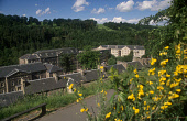 LOOKING OVER YELLOW FLOWERS DOWN TO THE BUILDINGS AT NEW LANARK WORLD HERITAGE SITE, SOUTH LANARKSHIRE. PIC: VisitScotland/SCOTTISH VIEWPOINT Tel: +44 (0) 131 622 7174   Fax: +44 (0) 131 622 7175 E-Ma... ARCHITECTURE,EXHIBIT,SUMMER,BUILDING,SUNNY