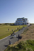Castle Stuart Golf Links, situated between Inverness and Nairn, on the Moray Firth coast.  Picture Credit : Paul Tomkins / VisitScotland / Scottish Viewpoint Tel: +44 (0) 131 622 7174 Fax: +44 (0) 131... Public 2011,april,spring,sunny,summer,course,club,open,highland,highlands,green,flag,putt,puttinghole,coastal,water,golfers,clubhouse,club house