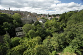 View down to the Water of Leith Walkway and Dean Village, from the Dean Bridge, Edinburgh. Picture Credit : Paul Tomkins / VisitScotland / Scottish Viewpoint Tel: +44 (0) 131 622 7174   E-Mail : info@... Public 2011,summer,sunny,rooftops,new,town,elavated