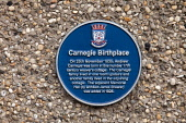 The Blue Plaque marking the birthplace of Andrew Carnegie, Dunfermline, Fife. Picture Credit : Paul Tomkins / VisitScotland / Scottish Viewpoint  Tel: +44 (0) 131 622 7174  E-Mail : info@scottishviewp... Public 2011,summer,attraction,visitor,philanthropist,heritage,sign,museum,building