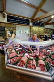 The butchery counter at the Balgove Larder Farm Shop, Strathtyrum House Estate, St Andrews, Fife.  Picture Credit : Paul Tomkins / VisitScotland / Scottish Viewpoint  Tel: +44 (0) 131 622 7174  E-Mail... Public 2011,interior,food,eating,variety,local,produce,locally,sourced,retail,shopping,specialised,butchers,meat,red,butcher