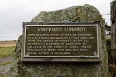 """Memorial plaque at landing site of first aerial voyage in Scotland - beside B940 road between Cupar and Pitscottie, Fife.  The memorial reads, """"Vincenzo Lunardi, born in, Lucca, Italy, in 1759. He asc... Public 2011,summer,heritage,information,fascinating,fact"""