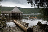 Dugout canoes available for hire at the Living Iron Age Experience special event at the Scottish Crannog Centre on Loch Tay, Kenmore, Perthshire. Picture Credit : Paul Tomkins / VisitScotland / Scotti... Public 2011,summer,attraction,visitor,heritage,tradition,water,dug,out,people,costume,family