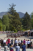 The Atholl Highlanders Parade held annually in May at Blair Castle, home of Europe's only legal private army, Blair Atholl, Perthshire. Picture Credit : Paul Tomkins / VisitScotland / Scottish Viewpoi... Public 2012,summer,sunny,event,visitor,attraction,tartan,kilt,kilts,history,heritage,people,spectators