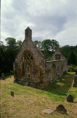 LOOKING OVER THE GRAVEYARD TO THE RUINED CHURCH AT TEMPLE- DATING FROM 13-14C AND RENOWNED FOR ITS CONNECTIONS WITH THE KNIGHTS TEMPLAR, MIDLOTHIAN. PIC: P.TOMKINS/VisitScotland/SCOTTISH VIEWPOINT Tel... HERITAGE,SUNNY,RELIGION,GRAVESTONE,BUILDING,SUMMER
