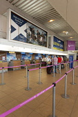 The departures area of Glasgow Prestwick Airport, Prestwick, South Ayrshire. Picture Credit : Paul Tomkins / VisitScotland / Scottish Viewpoint   Tel: +44 (0) 131 622 7174  E-Mail : info@scottishviewp... Public 2012,interior,travel,transport,main,concourse,terminal,building,people,passengers,check,in,check-in,flight,flights,ryanair,bag,drop,baggage