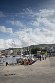 The harbour at Girvan, South Ayrshire. Picture Credit : Paul Tomkins / Scottish Viewpoint   Tel: +44 (0) 131 622 7174  E-Mail : info@scottishviewpoint.com  This photograph cannot be used without prior... Public 2012,summer,sunny,water,coast,coastal,boat,boats,firth,clyde,fishing,people,couple