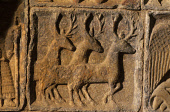A DETAIL OF THE ELABORATE STONE WORK OF A TOMB TO BE FOUND IN ST. CLEMENT'S CHURCH (DATING FROM THE 16C) AT RODEL- A VILLAGE AT THE SOUTH END OF SOUTH HARRIS, OUTER HEBRIDES. PIC: PAUL TOMKINS/VisitSc... HISTORIC SCOTLAND,ISLAND,STAG,ANTLERS,DEER,MASONRY,CARVING,RELIGION,BUILDING,ARCHITECTURE,HERITAGE