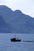 LOOKING ACROSS LOCH HOURN TO THE MOUNTAINS OF KNOYDART WITH A FISHING BOAT IN THE FOREGROUND, HIGHLAND. PIC: PAUL TOMKINS/VisitScotland/SCOTTISH VIEWPOINT Tel: +44 (0) 131 622 7174   Fax: +44 (0) 131... SUMMER,INDUSTRY,TRAWLER,WATER,COAST,SUNNY