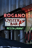 Rogano - Oyster Bar and Restaurant in the city centre of Glasgow specialising in Scottish fish and seafood.  Picture Credit : Paul Tomkins / VisitScotland / Scottish Viewpoint   Tel: +44 (0) 131 622 7... Public 2013,dusk,evening,atmospheric,food,lobster,drink,drinking,eating,dining,fine,sign,signage,art,deco,neon