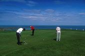LOOKING OVER TO A GROUP OF GOLFERS ON ONE OF THE GREENS AT BALCOMIE GOLF COURSE AT CRAIL- A SMALL TOWN AND RESORT, EAST NEUK OF FIFE. PIC: P.TOMKINS/VisitScotland/SCOTTISH VIEWPOINT Tel: +44 (0) 131 6... WATER,ACTIVITY,SPORT,COAST,SUNNY,SUMMER