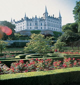 LOOKING OVER THE NEATLY TENDED GARDENS TO DUNROBIN CASTLE- A FAIRYTALE SCOTTISH BARONIAL CASTLE DATING FROM 1275 WITH EXTENSIVE ADDITIONS IN 19C BY SIR CHARLES BARRY AND THE SEAT OF THE DUKES OF SUTHE... HEDGE,SUNNY,BUILDING,ARCHITECTURE,HORTICULTURE,SUMMER,HERITAGE