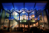 LOOKING OVER TO THE ENTRANCE OF THE EDINBURGH INTERNATIONAL CONFERENCE CENTRE ON MORRISON STREET, ILLUMINATED AT NIGHT, IN THE CITY CENTRE OF EDINBURGH, LOTHIAN. PIC: PAUL TOMKINS/VisitScotland/SCOTTI... CORPORATE,HOSPITALITY,INCENTIVE,FLOODLIT,BUILDING,ARCHITECTURE,ATMOSPHERIC