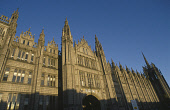 """LOOKING UP TO THE IMPRESSIVE FACADE OF MARISCHAL COLLEGE (FORMERLY PART OF THE UNIVERSITY) IN THE CENTRE OF ABERDEEN- SCOTLAND'S THIRD LARGEST CITY, KNOWN AS THE """"GRANITE CITY"""" DUE TO THE LOCAL STONE... 2003,SUNNY,SPIRE SPIRES,NEWCITIES,BUILDING,AUTUMN,ARCHITECTURE"""