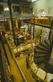 """LOOKING DOWN TO THE VAST ARRAY OF SHELVES IN """"LEAKEYS"""" SECOND HAND BOOKSHOP (THE LARGEST INDEED IN SCOTLAND!) SITUATED IN A CONVERTED CHURCH IN THE CITY CENTRE OF INVERNESS. PIC: P.TOMKINS/VisitScotla... 2003,SPIRAL STAIRCASE,SHOP SHOPPERS SHOPPING,RETAIL,PEOPLE,NEWCITIES,INTERIOR"""
