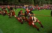 MEMBERS OF THE WALLACE CLAN TAKE PART IN THE CLANSMEN'S TUG OF WAR COMPETITION AT THE LONACH HIGHLAND GATHERING AND GAMES, STRATHDON, ABERDEENSHIRE. PIC: P. TOMKINS/VisitScotland/SCOTTISH VIEWPOINT Te... ACTIVITY,TUG O WAR,TRADITION,TARTAN,SPECTATORS,SHOWGROUND,KILT,EVENT,CROWD,COMPETITORS