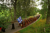 THE MARCH OF THE LONACH HIGHLANDERS HEADING TOWARDS THE LONACH HALL DURING THE LONACH HIGHLAND GATHERING AND GAMES, STRATHDON, ABERDEENSHIRE. PIC: P. TOMKINS/VisitScotland/SCOTTISH VIEWPOINT Tel: +44... BANNER,TRADITION,TARTAN,STANDARD,PIKE,PEOPLE,MARCHING,KILTS,KILT,FLAG,EVENT