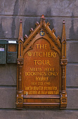THE ORNATE WOODEN SIGN FOR THE WITCHERY GHOST TOUR ON THE ROYAL MILE, IN THE CITY CENTRE OF EDINBURGH. PIC: P. TOMKINS/VisitScotland/SCOTTISH VIEWPOINT Tel: +44 (0) 131 622 7174   Fax: +44 (0) 131 622... 2004,TOURS,SUMMER,SIGNAGE,OLD TOWN,INFORMATION,DETAIL