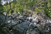 VISITSCOTLAND'S MEDIA ADVENTURE CHALLENGE 2006 PARTICIPANTS TAKE PART IN 'CANYONING' IN THE RIVER GARRY GORGE AT CALVINE, PERTHSHIRE.  (EVENT ORGANISED AND LED BY 'NAE LIMITS')  PHOTO: PAUL TOMKINS /...