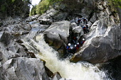 VISITSCOTLAND'S MEDIA ADVENTURE CHALLENGE 2006 PARTICIPANTS TAKE PART IN 'CANYONING' IN THE RIVER GARRY GORGE AT CALVINE, PERTHSHIRE.  (EVENT ORGANISED AND LED BY 'NAE LIMITS')  PHOTO: PAUL TOMKINS /... Paul Tomkins / VisitScotland / S