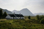 GLEN COE (GLENCOE) - BLACKROCK COTTAGE WITH THE BUACHAILLE ETIVE MOR (A MUNRO AT 3352') VISIBLE BEHIND, HIGHLAND. PIC: P.TOMKINS/VisitScotland/SCOTTISH VIEWPOINT Tel: +44 (0) 131 622 7174   Fax: +44 (... 2006,WALKING,WALKERS,SUNNY,SUMMER,PEOPLE,MOORLAND,MOOR,LONELY,ISOLATED,HOUSING,HIGHLANDS,HIGHLANDS,HEATHER,COUPLE,BLACK ROCK