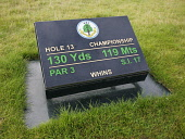 CARNOUSTIE GOLF LINKS (CHAMPIONSHIP COURSE) - CARNOUSTIE, ANGUS. TEE MARKER FOR 13th HOLE.