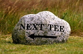 A GRANITE BOULDER SIGN DIRECTING GOLFERS TO THE NEXT TEE AT CARNEGIE GOLF CLUB, SKIBO CASTLE NEAR DORNOCH, HIGHLANDS. PIC:PAUL TOMKINS/VisitScotland/SCOTTISH VIEWPOINT Tel: +44 (0) 131 622 7174   Fax:... ACTIVITY,SPORT