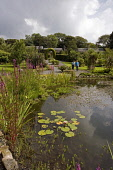 THE WALLED GARDEN AT DUNSKEY ESTATE, PORTPATRICK, DUMFRIES AND GALLOWAY.   Picture Credit : P.Tomkins / VisitScotland / SCOTTISH VIEWPOINT Tel: +44 (0) 131 622 7174   E-Mail : info@scottishviewpoint.c... Public 2006,SUMMER,SUNNY,ATTRACTION,VISITOR,TOURIST,HORTICULTURE,PLANTS,PEOPLE,COUPLE,POND,ORNAMENTAL