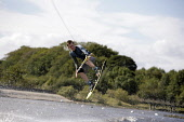 THE 2006 SCOTTISH WAKEBOARDING COMPETITION HELD AT THE NATIONAL WATERSKI CENTRE AT TOWN LOCH, TOWNHILL COUNTRY PARK, DUNFERMLINE, FIFE.  27.08.09.  PIC: P.TOMKINS/VisitScotland/SCOTTISH VIEWPOINT Tel:... Public 2009,SUMMER,SUNNY,ACTIVITY,SPORT,WAKEBOARD,EVENT,WATER