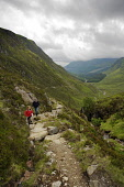 JOCK'S ROAD  (A WALKING PATH)  IN GLEN DOLL ABOVE GLEN CLOVA, ANGUS. FATHER AND SON ON PATH Public