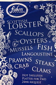 THE MENU BOARD FOR FISHERS BISTRO ON THE SHORE, LEITH, EDINBURGH.  PIC : NEIL SINCLAIR/SCOTTISH VIEWPOINT  Tel: +44 (0) 131 622 7174  Fax: +44 (0) 131 622 7175  E-Mail: info@scottishviewpoint.com  WEB... NEIL SINCLAIR/SCOTTISH VIEWPOINT 2008,SUNNY,SEAFOOD,RESTAURANT,FOOD,EATING
