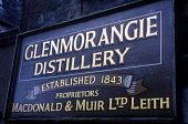 THE SIGN FOR THE GLENMORANGIE DISTILLERY, ESTABLISHED 1843, TAIN, HIGHLAND. PIC: GLYN SATTERLEY/SCOTTISH VIEWPOINT Tel: +44 (0) 131 622 7174   Fax: +44 (0) 131 622 7175 E-Mail : info@scottishviewpoint... INDUSTRY,WHISKY,SCOTLAND,MANUFACTURE,MACDONALD & MUIR LTD.