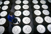 STENCILLING BARRELS AT THE HIGHLAND PARK DISTILLERY- DATING FROM 1798 THE MALT WHISKY DISTILLERY OFFERS TOURS AND A SHOP, HOLM ROAD, KIRKWALL, MAINLAND, ORKNEY. PIC: GLYN SATTERLEY/SCOTTISH VIEWPOINT... BUSINESS,WORKER,WHISKY,SCOTLAND,INTERIOR,INDUSTRY,EMPLOYEE