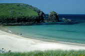 LOOKING DOWN TO A FAMILY PADDLING IN THE WAVES AT THE SANDY BEACH AT DAIL BEAG (DALBEG)- A SMALL BAY ON THE NORTH WEST COAST OF THE ISLE OF LEWIS, OUTER HEBRIDES. PIC: SUE ANDERSON/SCOTTISH VIEWPOINT... CHILDREN,WATER,SUNNY,SUMMER,SAND SANDY,PEOPLE,ISLAND,COAST,CLIFFS
