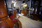 IN THE STILL ROOM BRUICHLADDICH DISTILLERY, ISLAND OF ISLAY, INNER HEBRIDES. PIC: GLYN SATTERLEY/SCOTTISH VIEWPOINT Tel: +44 (0) 131 622 7174   Fax: +44 (0) 131 622 7175 E-Mail : info@scottishviewpoin... EMPLOYEE,WORKER,WHISKY,SPIRIT SAFE,MANUFACTURE,ISLE,INTERIOR,INDUSTRY