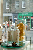 A DETAIL OF BOTTLES AND A JAR OF LEMONS ON THE COUNTER AT LIBRIZZI- AN ITALIAN RESTAURANT ON NORTH CASTLE STREET IN THE CITY CENTRE OF EDINBURGH. PIC: RICHARD CAMPBELL/SCOTTISH VIEWPOINT Tel: +44 (0)... BOTTLE,INTERIOR,FOOD,EATING,DRINKS,DRINKING,DINING