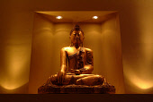 A BUDDHA DECORATION AT RESTAURANT MARTIN WISHART, THE SHORE, LEITH, EDINBURGH. PIC: RICHARD CAMPBELL/SCOTTISH VIEWPOINT Tel: +44 (0) 131 622 7174   Fax: +44 (0) 131 622 7175 E-Mail : info@scottishview... DINING,STATUE,INTERIOR,FOOD,EATING