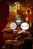 A DETAIL OF BEER AND LAGER ON OFFER AT THE HURRICANE BAR AND GRILL- A RESTAURANT ON NORTH CASTLE STREET IN THE CITY CENTRE OF EDINBURGH. PIC: RICHARD CAMPBELL/SCOTTISH VIEWPOINT Tel: +44 (0) 131 622 7... BOTTLE,TAPS,TAP,LOGO,INTERIOR,DRINKS,DRINKING,BOTTLES