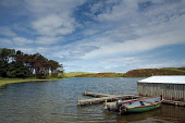 Coldingham Loch popular for fly fishing, near Coldingham, Scottish Borders. Keith Fergus / SV 2013,summer,sunny,water,tree,trees,boat,jetty,activity,activities,angling,fish,fishing