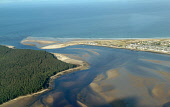 An aerial view of Findhorn Bay and the village of Findhorn itself, Moray 2012,spring,winter,sunny,dramatic,river,estaury,erosion,beach,beaches,sand,sandy,coast,coastal,coastline,water,sea,firth,tree,trees,forestry