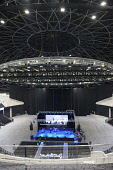 Inside the SSE Hydro - a venue hosting national and international music stars and sporting events, by the SECC, Exhibition Way, west of the city centre of Glasgow. Garry McHarg / Scottish Viewpoin 2013,interior,building,architecture,scottish,exhibition,centre,conference,arena,concert,sec,ltd,limited,roof,stage,light,lighting