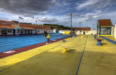 The open air swimming pool at Stonehaven, Aberdeenshire. Bill McKenzie / Scottish Viewpoi 2013,summer,sunny,attraction,visitor,visitors,tourist,tourists,tourism,atmospheric,HDR,water,recreation,swim,swimmers,lido