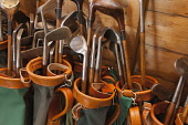 Hickory clubs at the Hickory World Championships at Craigielaw Golf Club near Aberlady, East Lothian. Andy Bennetts / Scottish Viewpoi 2008,interior,Championship,Competition,Drive,Driver,vintage,woods,antique,old,detail,activity,activities,golf,golfer,golfers,golfing,sport,sports