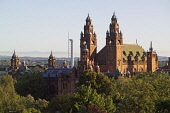 Looking over Kelvingrove Park to Kelvingrove Art Gallery and Museum, housing one of Europe's great civic art collections, with the Glasgow Tower at the Science Centre visible beyond, Glasgow. Allan Wright / Scottish Viewpoin 2005,summer,sunny,sunshine,afternoon,architecture,building,attraction,visitor,tourist,victorian,spire,spires,atmospheric,red,sandstone,spanish,baroque