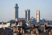 The towers of Trinity College and the white painted tower of the former Park Church, west of the city centre of Glasgow. Allan Wright / Scottish Viewpoin 2008,winter,sunny,sunshine,architecture,architectural,building,buildings,religion,education,rooftop,rooftops,chimney,pot,pots,park,circus,hill