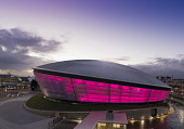 The SSE Hydro - a venue hosting national and international music stars and sporting events, by the SECC, Exhibition Way, west of the city centre of Glasgow. Allan Wright / Scottish Viewpoin 2013,autumn,building,architecture,scottish,exhibition,centre,conference,arena,concert,sec,ltd,limited,dusk,evening,light,lights,illuminated