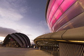 The SSE Hydro - a venue hosting national and international music stars and sporting events, with a view beyond to the Clyde Auditorium, Exhibition Way, west of the city centre of Glasgow. Allan Wright / Scottish Viewpoin 2013,autumn,building,architecture,scottish,exhibition,centre,conference,arena,concert,sec,ltd,limited,dusk,evening,light,lights,illuminated,armadillo,SECC